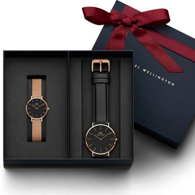 Đồng hồ cặp DW Classic Petite Melrose & Sheffield Black Rose Gold