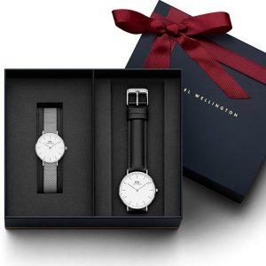 Đồng hồ cặp DW Classic Petite Melrose & Sheffield White Silver