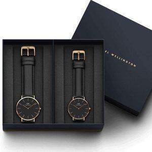 Đồng hồ cặp DW Classic Petite Sheffield Black Rose Gold
